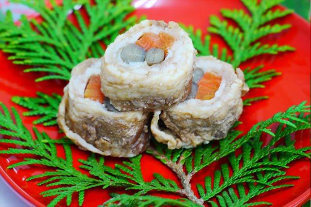 お食い初めの料理イメージ11牛肉八幡巻き